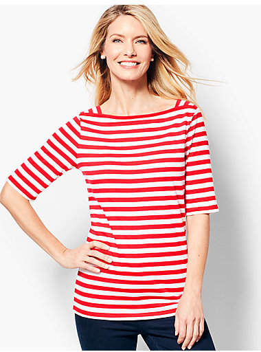 Talbots Envelope-Neck Tee - Stripe