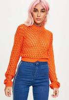Missguided Orange High Neck Open Knit Cropped Jumper, Orange