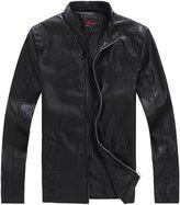 QZUnique Men's Big & Tall Slim Fit Casual Jacket PU Leather Zipper Closure Coat M