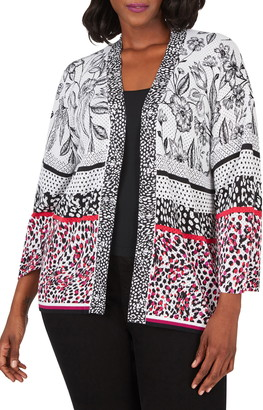 Foxcroft Florence Mixed Print Cotton Blend Open Cardigan