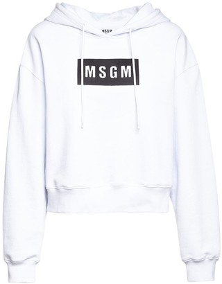 MSGM Logo Print Cotton Jersey Crop Hoodie