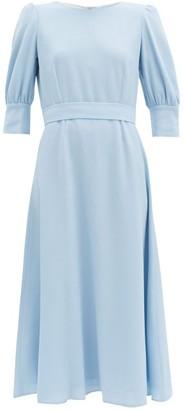 Goat Kane Bishop-sleeve Wool-crepe Midi Dress - Light Blue