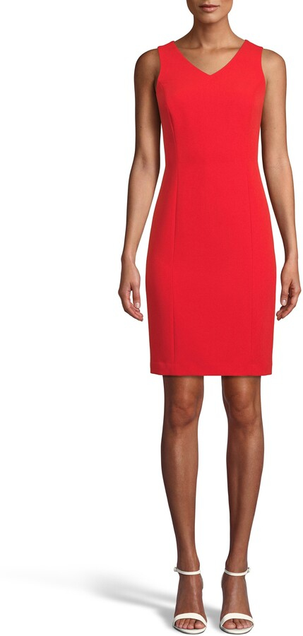 Anne Klein V-Neck Crepe Sheath Dress