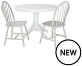 Daisy 107 Cm Round Table + 2 Chairs - White/Grey