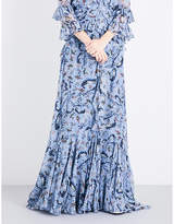 Erdem Paisley Vine-print silk-voile maxi skirt