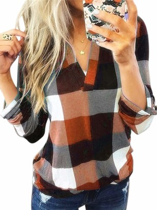 Sexy Dance Women's Shirt Checked Long Sleeve Tops Blouses Plaid Shirt V Neck Casual Tunic for Ladies XL Blue