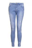 Quiz Light Blue Stretch Denim Frayed Jeans