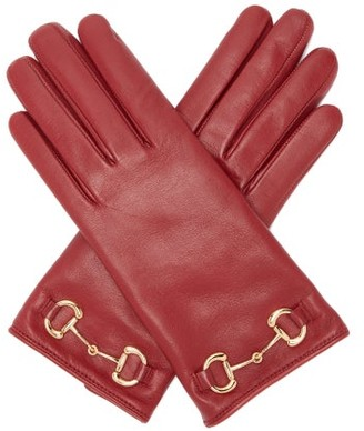 Gucci Horsebit Leather Gloves - Womens - Red
