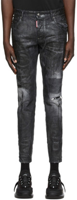 DSQUARED2 Black Icon Wax Skater Jeans