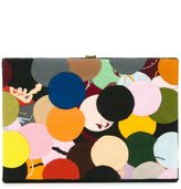 Olympia Le-Tan dotted felt patch book clutch - women - Cotton/Brass - One Size