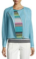Escada Perforated Leather Moto Jacket, Light Blue