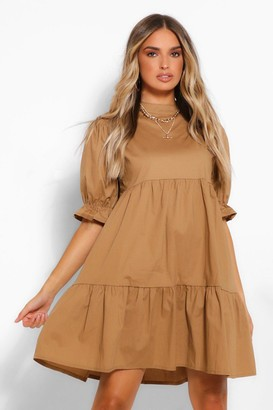boohoo High Neck Smock Dress