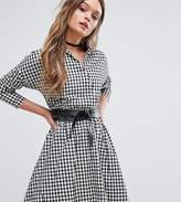 boohoo Gingham Wrap Over Shirt Dress