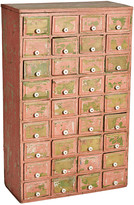 Rejuvenation Perfectly Patinated Pink Painted Primitive 36-Drawer Hardware Cabinet