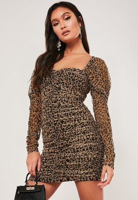 Missguided Tan Leopard Print Mesh Ruched Mini Dress