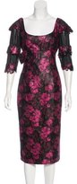 L'Wren Scott Mesh-Accented Jacquard Dress