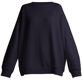 Raey Crew-neck Japanese-jersey Sweatshirt - Womens - Navy