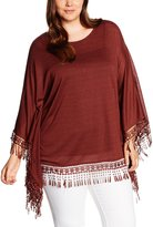 Yours Clothing Yoursclothing Plus Size Womens Terracotta Poncho With Crochet Tassel Hem Size 16-18