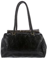 Badgley Mischka Glazed Leather Shoulder Bag