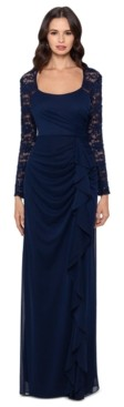 Xscape Evenings Lace-Sleeve Side-Ruched Gown