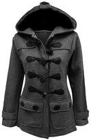 LAKAYA Womens Classic Pea Coat Jacket Wool Blended Plus Size Hoodie Outwear XL