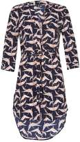 Izabel London *Izabel London Navy Bird Print Shirt Dress