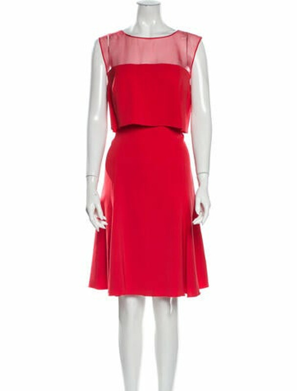 Thumbnail for your product : Oscar de la Renta Silk Knee-Length Dress Red