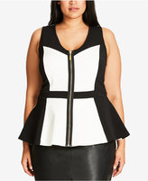 City Chic Trendy Plus Size Colorblocked Zip-Up Top