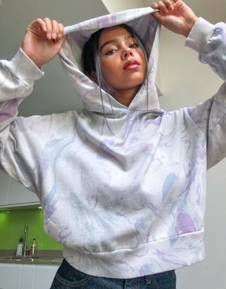 Weekday Amaze organic cotton oversized marble print hoodie in multi