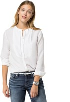 Tommy Hilfiger Final Sale- Linen Tuxedo Blouse