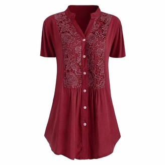 Jiegorge Tops for Women Fashion Women Casual Plus Size Lace Solid Short Sleeves V-Neck Shirt Blouse Tops