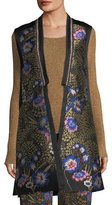Etro Floral-Embroidered Open-Front Silk Faille Long Vest