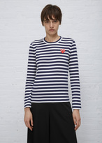 Comme des Garcons White / Navy Stripe Long Sleeve Red Heart T-shirt