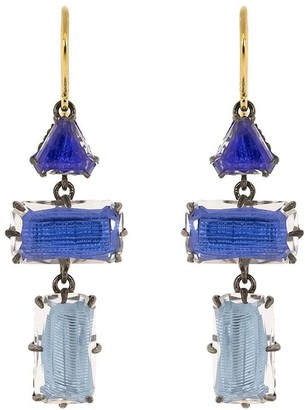 Larkspur & Hawk 14kt gold Caterina baguette 3-drop earrings