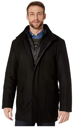 Cole Haan 3-in-1 Pressed Melton Car Coat, Removable Bib Converts to Quilted Jacket (Black) Men's Coat