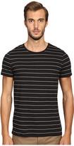 Vince Cotton-Modal Shadow Stripe Short Sleeve Crew