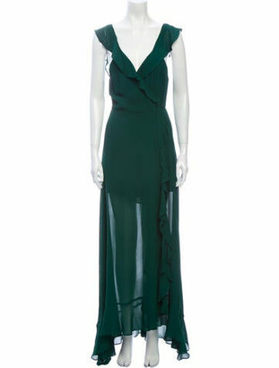Reformation V-Neck Long Dress Green