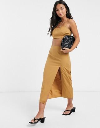 ASOS DESIGN 3 piece suit midi skirt in camel pinstripe
