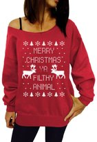 Hiwil Women's Relaxed Funny Print Off-Shoulder Long Sleeve Pullovers Chirstmas Sweater M
