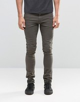 Asos Super Skinny Jeans With Camo Turn Up In Khaki