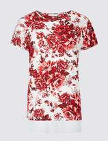 Marks and Spencer Cotton Blend Floral Print Short Sleeve Tunic