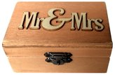 Dovewill Mr & Mrs Rustic Chic Ring Box Wedding Engagement Favor Wood Craft Wooden Jewelry Ring Holder Display Case