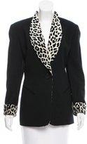 Christian Dior Leopard-Trimmed Wool Blazer