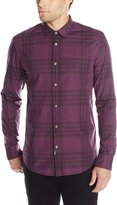 Calvin Klein Jeans Men's Wave Plaid Long Sleeve Button Down Shirt