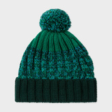 Paul Smith Men's Green Lambswool Twisted-Yarn Cable Knit Bobble Hat