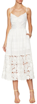 Prabal Gurung Lace Eyelet Spaghetti Strap Flared Dress