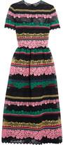 Valentino Paneled Appliquéd Cotton-blend Lace Midi Dress - Pink