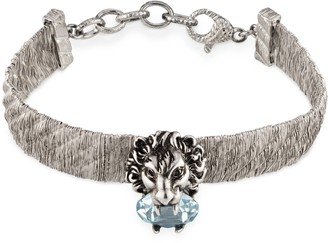 Gucci Lion head bracelet with light blue crystal