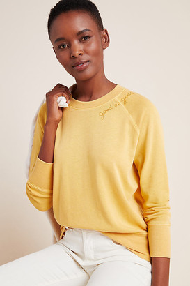 Sundry Good As Gold Embroidered Sweatshirt By in Gold Size XS