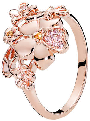 Pandora Rose Pink Crystal Wildflower Meadow Ring